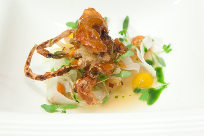Kumquat, Red Miso, and Yuzu–Glazed Softshell Crab with Shaved Fennel, Plums, Sweet Tomatoes, Summer Bean Salad, and Honeydew, Corn, and Sichuan Pepper Nage