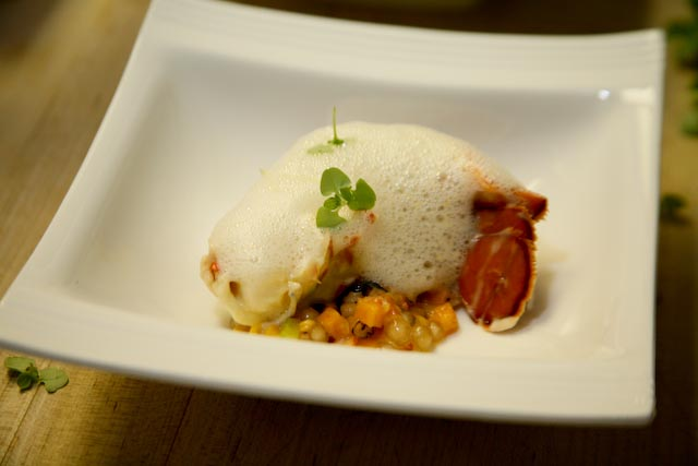 Lemon-Poached Lobster with Chili Tapioca and Lychees