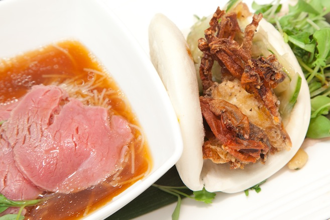 Banh Bao and Pho Duo > Tempura Softshell Crab Banh Bao with Housemade Hoisin Sauce, Pickled Watermelon, and Cucumber Jam; and Pho with Spicy Ginger–Lime Broth, Rice Noodles, and Rare Beef