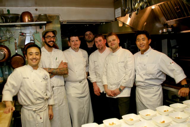 Chef Lon Symensma and his team in the Beard House kitchen