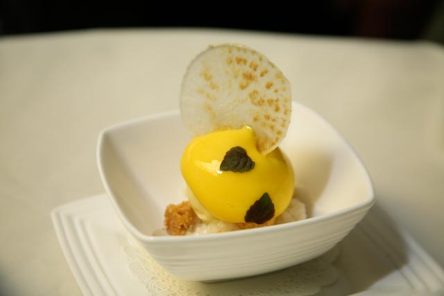 Coconut Rice with Citrus Sorbet and Mango