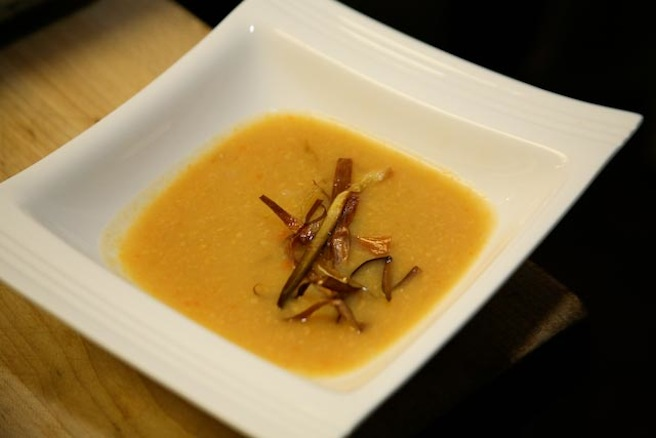 Dried Corn Bisque with Fried Leeks