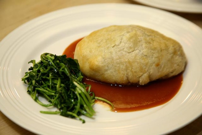 Buffalo Wellington with Buffalo–Berry Reduction and Wilted Watercress