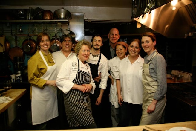 Chefs MJ Adams and Andrea Lekberg and their team in the Beard House kitchen