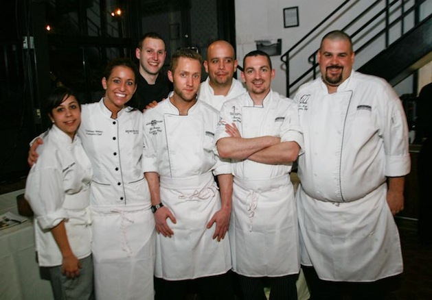 Chefs Jaime Ortiz, Will Brown, Ken Kehn, Jason Saunders, Frank Tardio, and Courtney Withey at the Beard House
