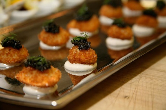 Golden Quail Eggs with Caviar and Vodka Cream