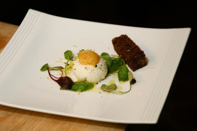 Housemade Burrata with Lemon, Olive Oil, and Pumpernickel Bread