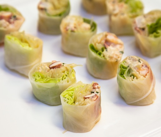 Lobster Summer Rolls with Glass Noodles, Mint, and Yuzu Mayonnaise