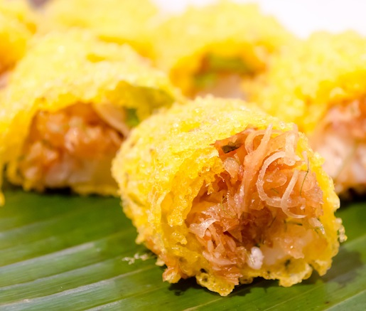 Latiang > Crispy Lobster Egg Net Rolls with Caramelized Coconut, Lemongrass, and Kaffir Lime Leaves