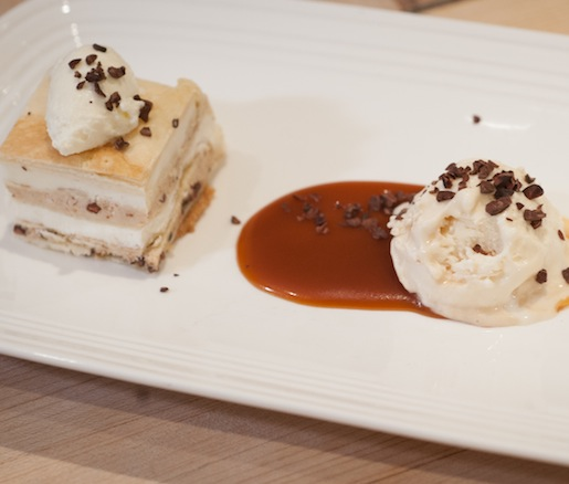 Hazelnut–Cocoa Nib Mille-Feuille with Ricotta Mousse and Salted Caramel Ice Cream