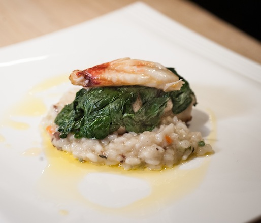 Spinach-Wrapped Monkfish with King Crab and Bone Marrow Risotto