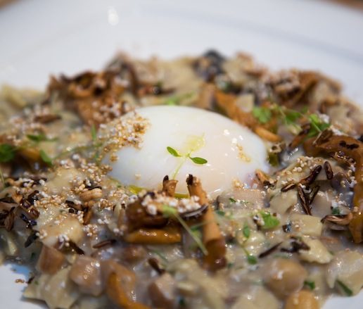 Mushroom Hilopites Pasta with Chickpeas and Soft Egg