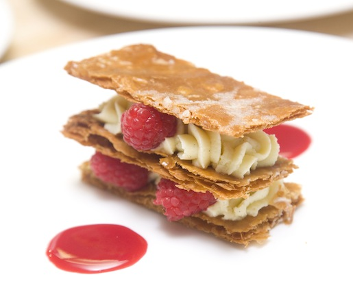 Caramelized Puff Pastry Napoleon with Crème Légère and Raspberries