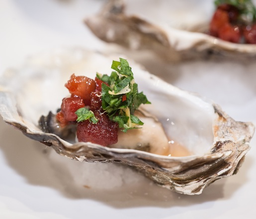 Grilled Oysters with Candied Bacon, Lemon, and Parsley