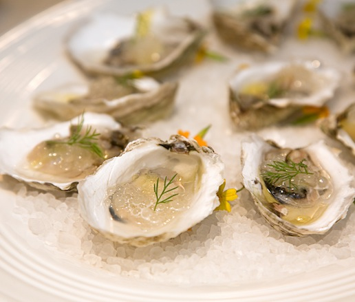 Pickled Oysters with Horseradish Pearls and Sea Foam