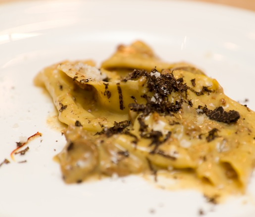Taccozzelle all'Aquilana> Rhombus-Shaped Pasta with L'Aquila Saffron, Black Truffles, Porcini, and Sausage
