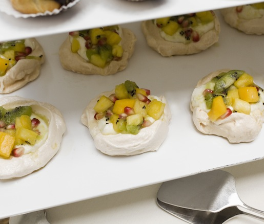 Miniature Pavlovas with Cream and Fruit