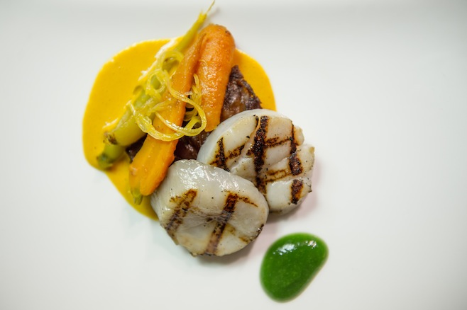 Smoked Scallops with Crispy Pigs' Feet, Baby Carrots, Coriander, and Preserved Lemon