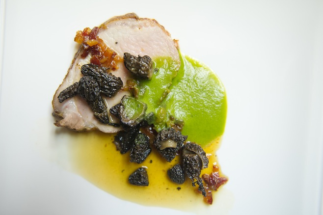 Roasted Pork Tenderloin with Spring Onions, Morels, and Bacon–Honey Gastrique