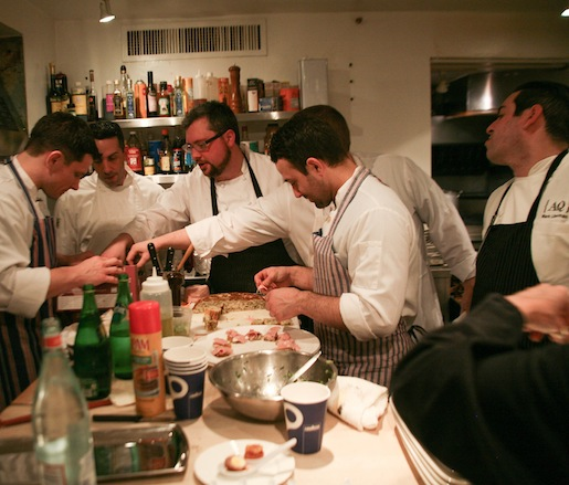Plating hors d'oeuvres in the Beard House kitchen