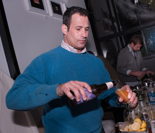 Sam Calagione pouring Dogfish Head brews