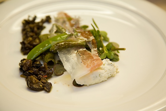 Calamint Cavatelli with Seared Snap Peas, Mousseron Mushrooms, Guinea Hog Prosciutto, and Spruce Shoot Ricotta