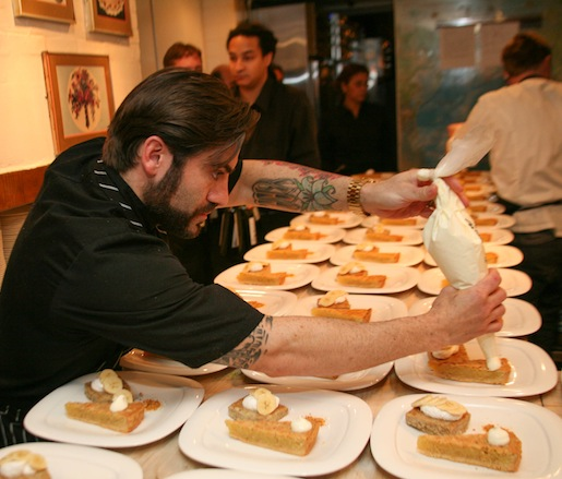 Chef Ryan DePersio plating dessert