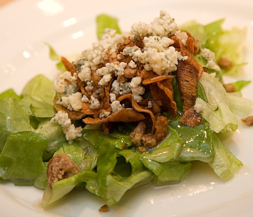 Blue Ribbon Salad > Baby Bibb Lettuce with Spiced Pecans, Crisp Vegetable Ribbons, Blue Cheese, and Peach Vinaigrette