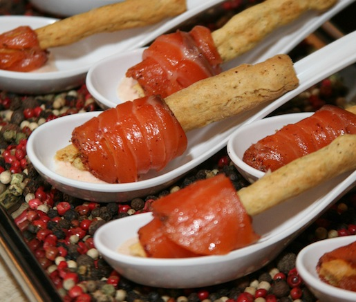 Sambuca-Cured Scottish Salmon with Paprika Yogurt and Black Pepper Grissini