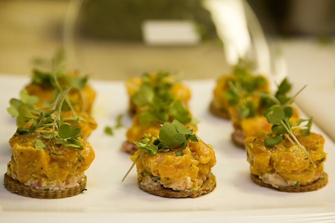 Smoked Salmon with Salmon Tartare on Crispy Chickpea Fritters