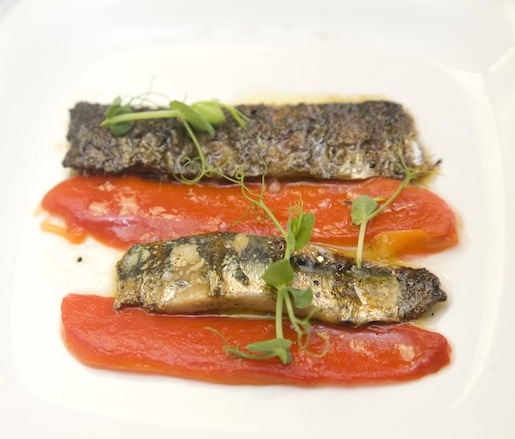 Grilled Sardines with Roasted Red Peppers and Lemon Vinaigrette