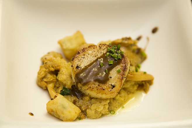 Sautéed Sea Scallops with Crispy Bone Marrow Fritter, Chanterelles, Scallions, Soft Polenta, and Porcini Sauce