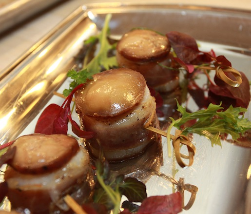 Scallops with Duck Prosciutto, Quince Mostarda, and Foie Gras