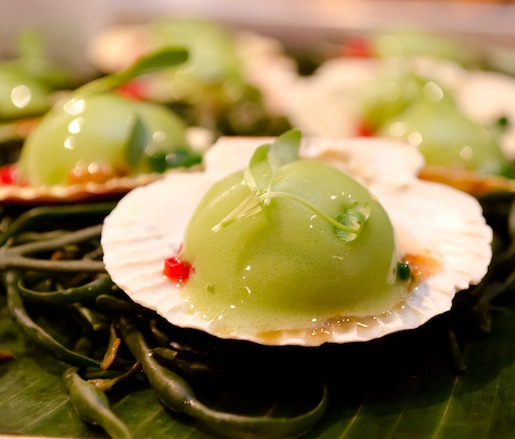 Plah Hoi Shell > Nantucket Bay Scallops with Cucumber–Galangal Espuma, Cilantro Pearls, and Nahm Jim Sauce