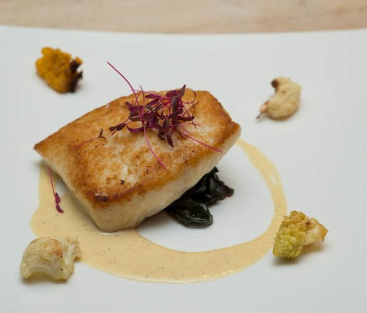 Seared Atlantic Flounder with Swiss Chard, Roasted Cauliflower, and Brown Butter Emulsion
