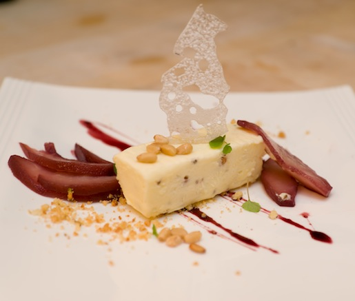 Star Anise–Pine Nut Semifreddo with Montepulciano d'Abruzzo–Poached Pears and Toasted Pine Nuts