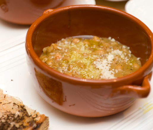 Zuppa di Farro, Ceci e Castagne Farro> Chickpea, and Chestnut Soup with Toasted Bread and Housemade Lardo