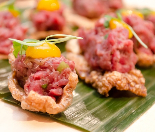 Larp Neua Gai > Northeastern-Style Beef Tartare with Beef Tendon Cracklings and Macquem Spice