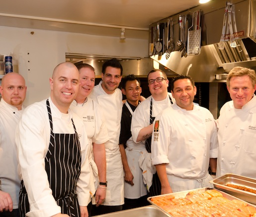 Michael  Rossi, Randy Waidner, Angelo Soso, David Rossi, and Andrew Sutton with members of their team in the Beard House kitchen