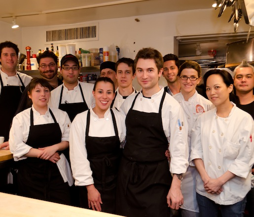 Alex Stupak, Lauren Resler, and Matthew Resler with members of their team in the Beard House kitchen