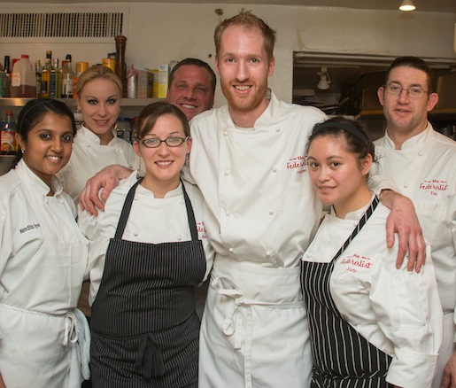 Chef Harper McClure and his team at the Beard House