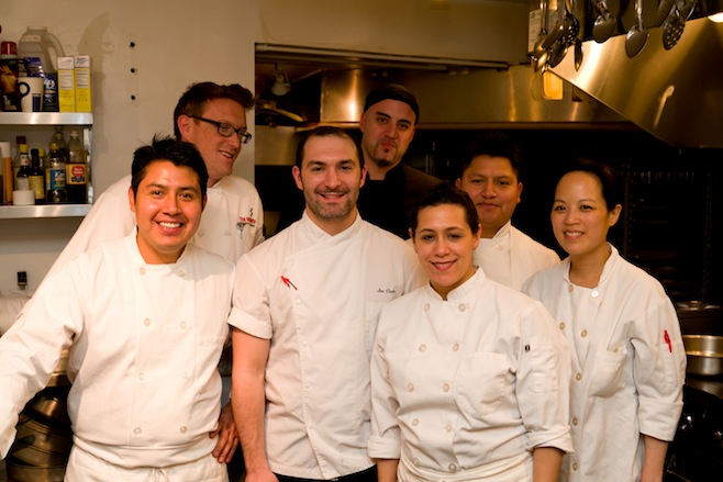 Chef Joe Cicala with members of his team in the Beard House kitchen