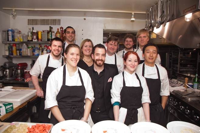Champe and Lisa Speidel with members of their team in the Beard House kitchen
