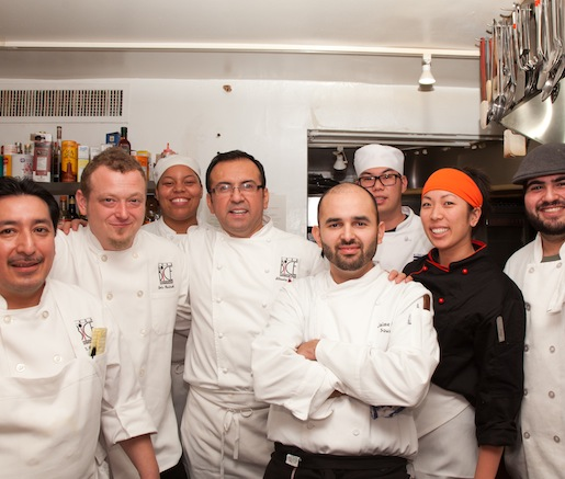 Chef Silverio Chavez and his team in the Beard House kitchen