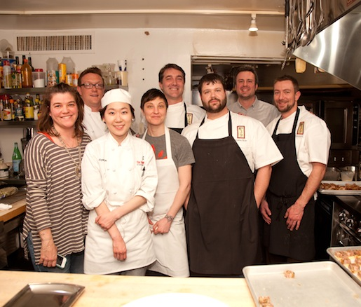 Chefs Ted Habiger and Andrew Sloan with members of their team in the Beard House kitchen
