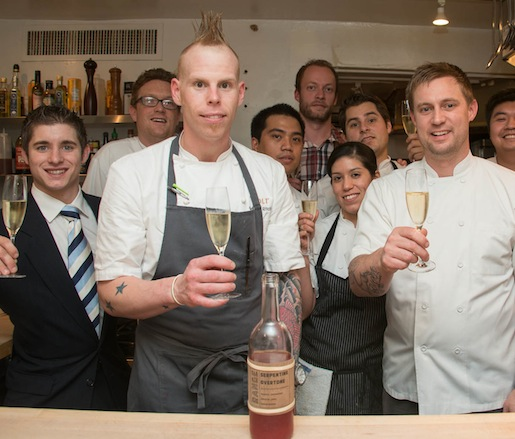 Chef Bryan Voltaggio and his team at the Beard House kitchen