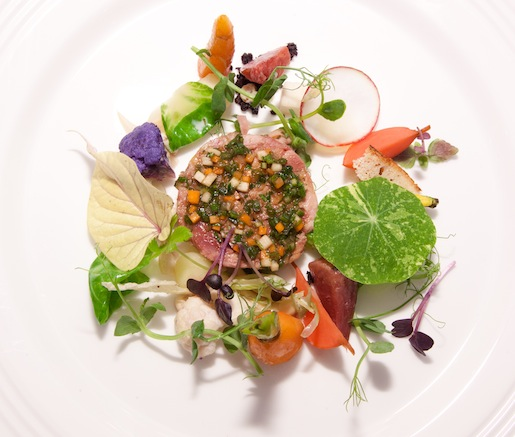 Warm Pork Head Terrine with Glazed, Pickled, and Raw Vegetables and Petite Herbs and Flowers