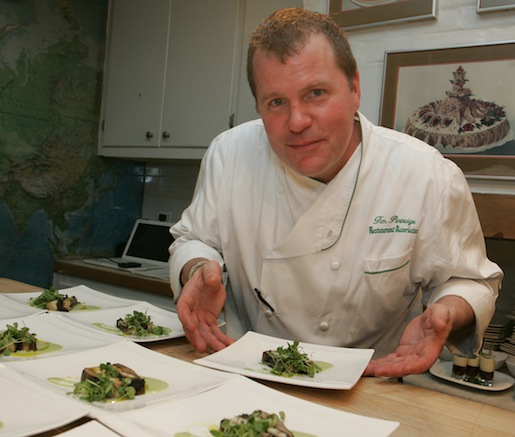 Chef Tim Partridge with Forest Mushroom Terrine with Maine Lobster Tail and Green Goddess Dressing