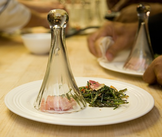 Black Tea–Smoked Toro with Sea Beans, Local Radish–Heirloom Tomato Carbonara, and Nueske's Bacon Sprinkles