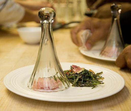 Black Tea–Smoked Toro with Sea Beans, Local Radish–Heirloom Tomato Carbonara, and Nueske's Bacon Sprinkles